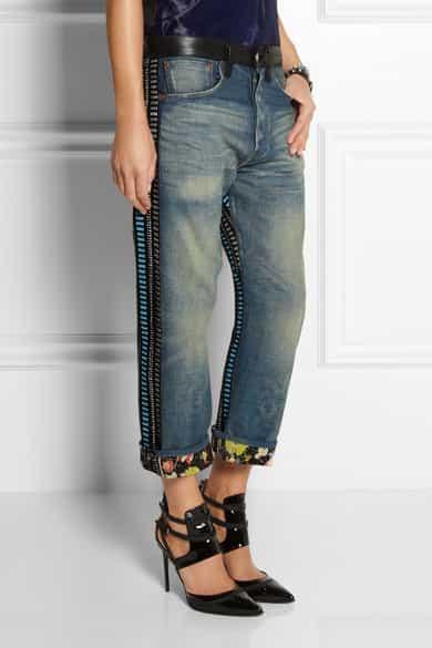 Junya Watanabe Leather-trimmed stripe-paneled boyfriend jeans £850