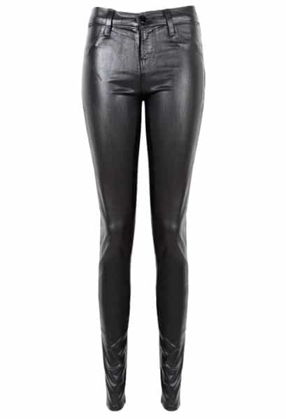 J Brand 815 Mid Rise Super Skinny Coated Black Tar
