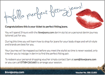 give the gift of denim, voucher, ilovejeans stylist