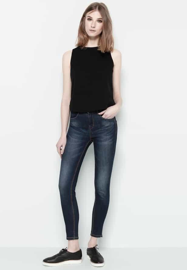 high rise, capri, jeans, dark blue, pull&bear