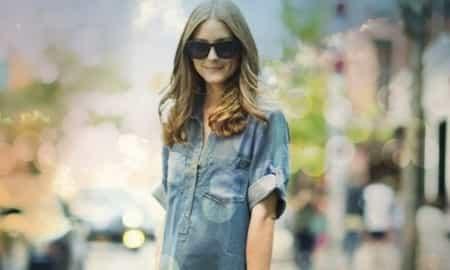 olivia Palermo, denim shirt, Gap
