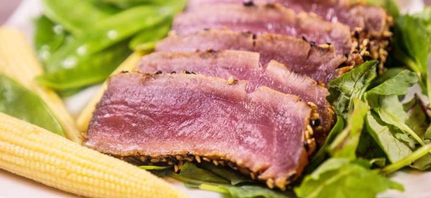 tuna slices close up