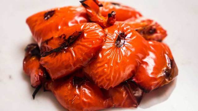 Oven roasted red bell peppers.