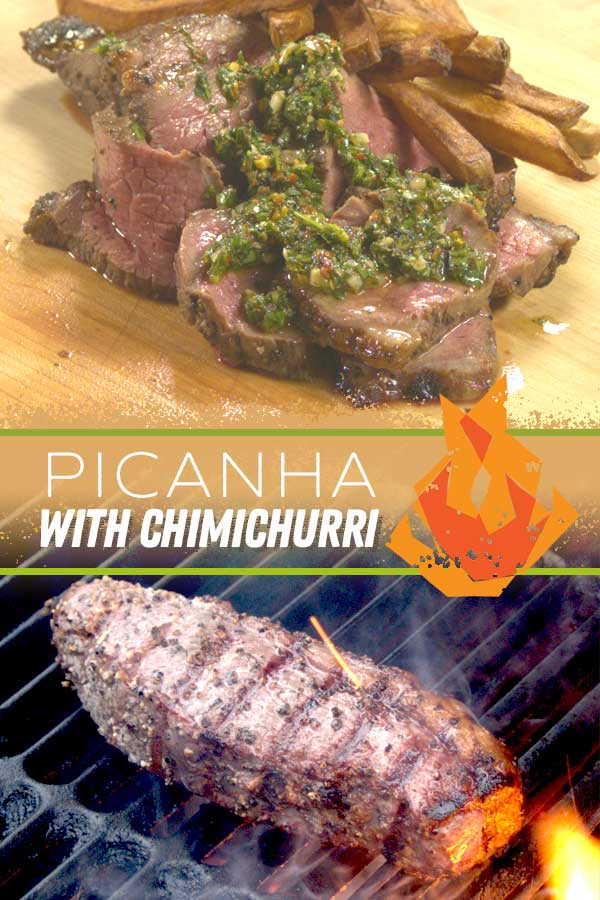 Picanha steak grilling over hot coals sliced with chimichurri sauce.