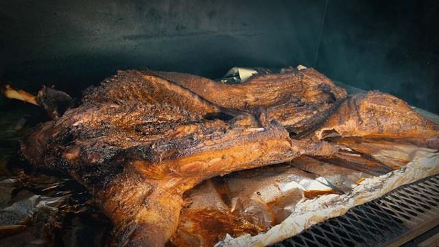 Whole Lamb inside a smoker