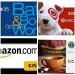 Four $35 Gift card Galore Giveaway, Ends 12/30