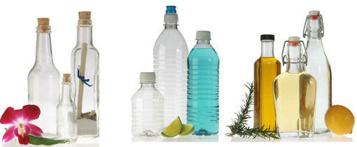 decorative plastic and glass bottles