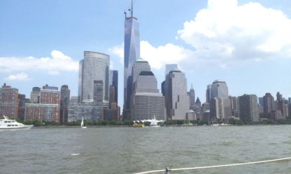 views of lower Manhattan, the Statue of Liberty