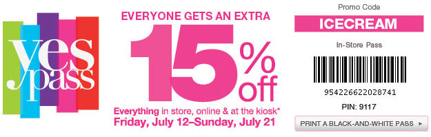 Kohls 15 coupon shopping Yes Pass