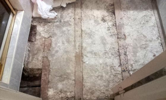 breaking up the bathroom floor
