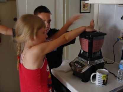 kids love preparing the smoothies