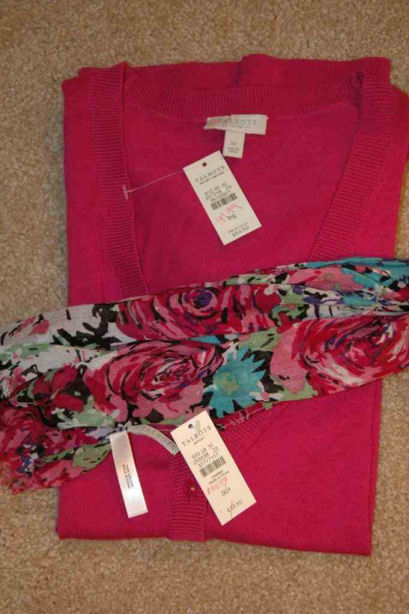 colorful blouse and scarf at Talbots