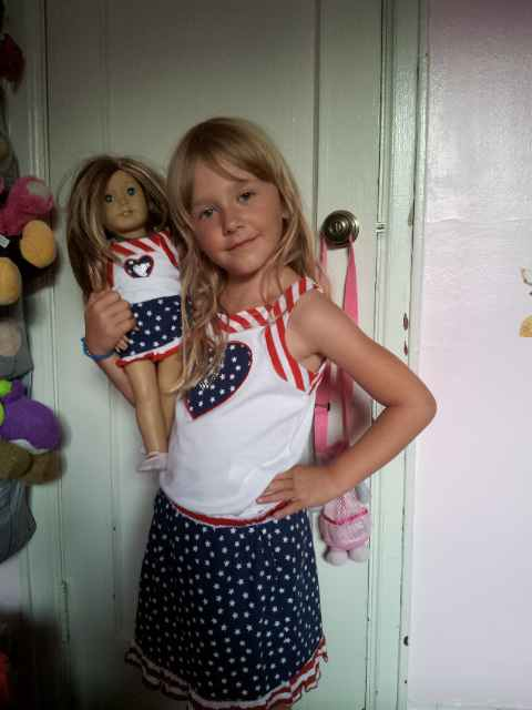 dolly and me matching July 4th outfit