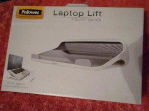 fellowes laptop lift in box