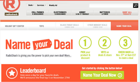 RadioShack Name your deal promotion