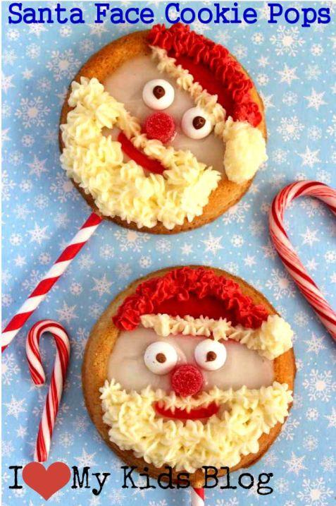 Santa face cookie pops