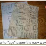 How to make paper look old without burning it-use coffee instead-DIY with kids!
