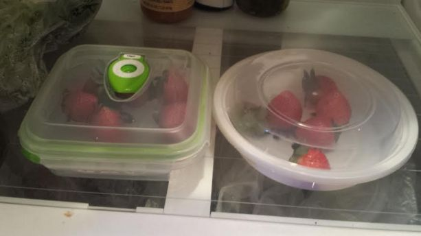 begin of strawberries in air sealed container test
