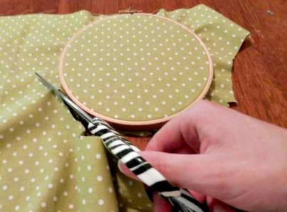 Cut Fabric Around the Hoop