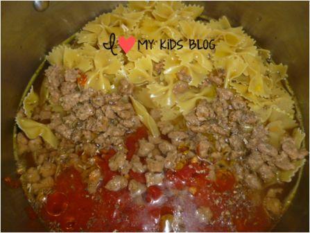 Bowtie sausage pasta 2