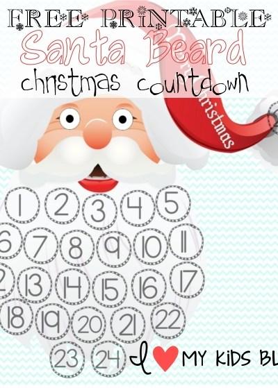 FREE Christmas Printables! Christmas Countdown Santa Beard & Christmas Bucket List  (Blank and Worded)