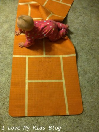 DIY Indoor hopscotch mat fun to make with kids except babies