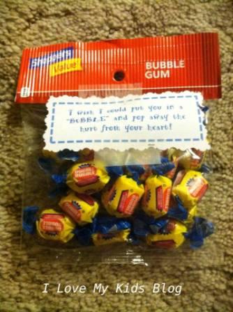 Grief Gift basket bubble gum