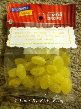 Grief Gift basket lemon drops
