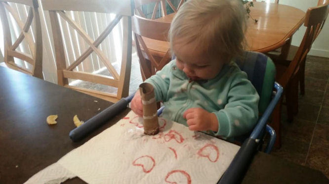 heart stamping with ketchup