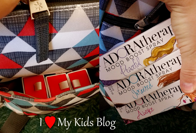 Adoratherapy Gal on the Go Mood Boost Spray in Diaper bag