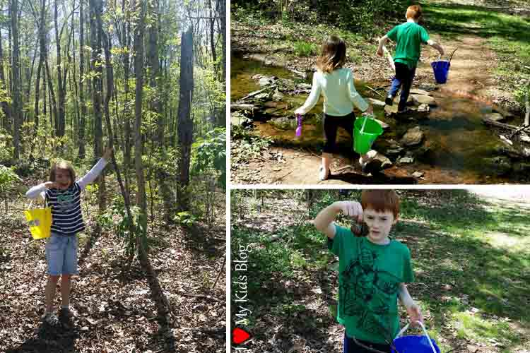 nature walk searching for sticks and pinecones