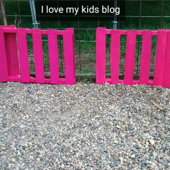 wood pallet bike rack painted