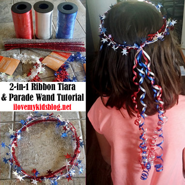 DIY 2-in-1 Ribbon Tiara and Parade Wand Tutorial