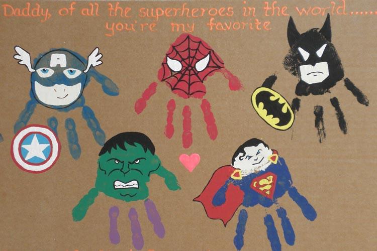 Father's Day Handprinting Superhero Ideas