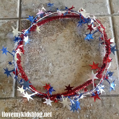 Second step to making the ribbon tiara or a decorative ring toss accessory