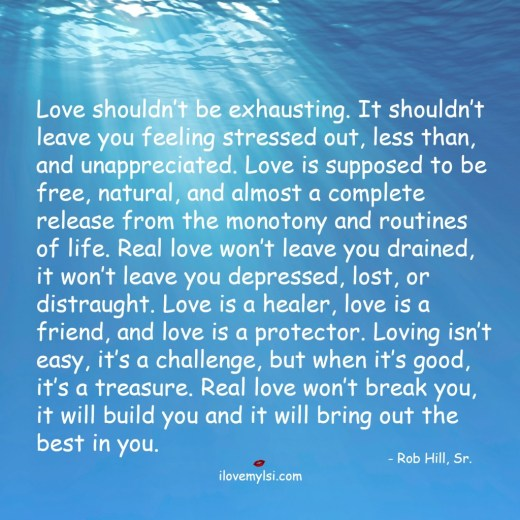 love shouldn't be exhausting