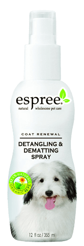 De-matting spray: Because de-matting knots with combs can take a long time and you may be in a rush, a de-matting dog spray can help you get the job done faster. Also, if your shih tzu is very sensitive to brushing then a de-matting spray is a less invasive way to get the knots out. With the de-matting spray, I usually spray it a few times on Osi then use the slicker comb to run through it. Osi prefers the de-matting spray since it's less painful and quick. Choose a de-matting spray that contains natural oils and natural ingredients. Look for ingredients such as sunflower oil, aloe or oat protein, which gives your shih tzu a shiny coat. Source espree.com.