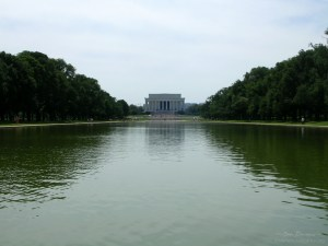8. The Lincoln Memorial stands at the west end of the National Mall and reflecting pool (June)