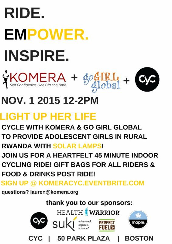 Upcoming Boston Charity Fitness Class = Solar Light for a Girl
