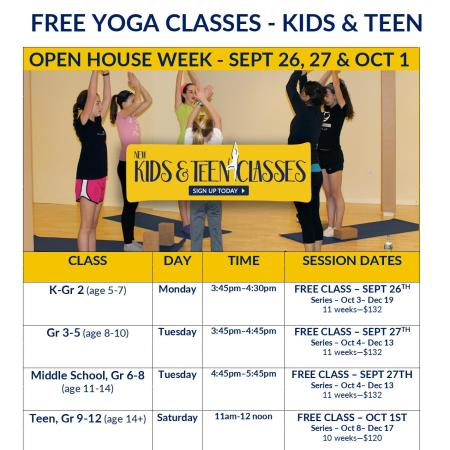 Kids and Teen Yoga OPEN HOUSE at Artemis Yoga