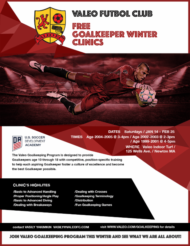Free Winter Goalkeepers' Clinics at Valeo FC
