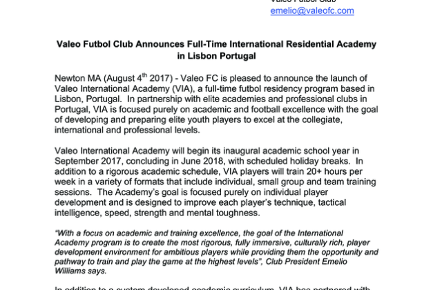 Valeo FC Announces Full-Time Residential Academy in Lisbon Portugal