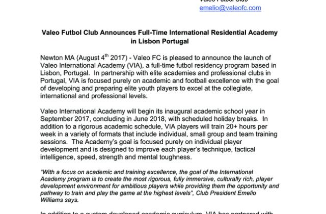Valeo FC Announces Full-Time Residential Academy in Lisbon Portugal