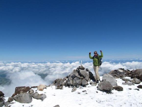 anna on top of Mt Taranaki
