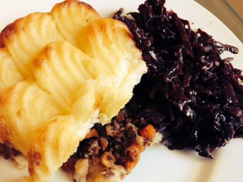 Melrose and Morgan Cottage Pie with Spiced Red Cabbage.   © 2013 iLovePrimroseHill.com, all rights reserved