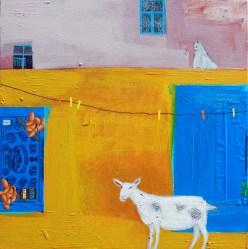 Do Goats like Almond Chocolate, acrylic on board, 46 x 46 cm, Emma Dunbar, £1100