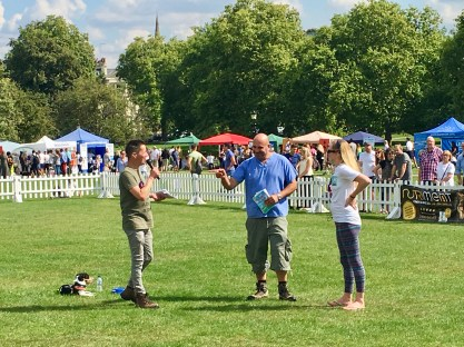 MARC ABRAHAM WITH FELLOW PUPAID DRIVING-FORCE BEX, COMPERE SIMON HAPPILY AND SIMON'S RESCUE, TEDDY