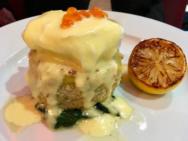 SALMON FISHCAKE, LEMON AND GARLIC SPINACH, POACHED EGG, HOLLANDAISE