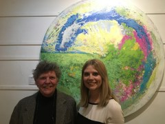 CLAIRE WITH ADRIAN HEMMINGS IN FRONT OF ADRIAN'S PAINITING