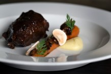 Braised beef in ale, smoked mashed potato, carrot & cep £25 (2014-2015)